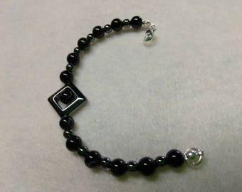 Hematite and Banded Agate Beaded bracelet
