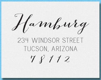 Calligraphy Script Return Address Stamp, Personalized Family Address Stamp, Housewarming Gift
