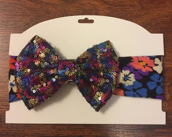 Sequined bow headband
