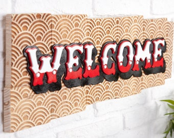 Poster of recycled wood with letters in relief - Welcome-
