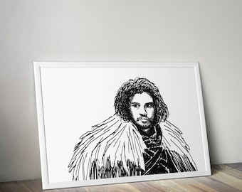 Custom portrait Jon Snow size MEDIUM (700 x 500 mm; 27.5 x 19.6 inch)