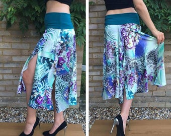 Satin Tango skirt on teal stretchy Lycra band - UK size 12