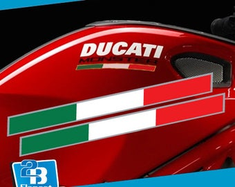 Fit For Ducati Monster S2R 796 795 821 1200 Italian Tricolore Side Fairing Decal Sticker with Silver Keyline