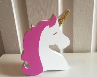 Freestanding Wooden Unicorn Head Unicorn Decor