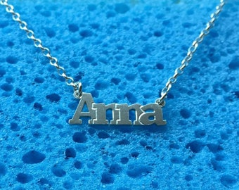 Anna name necklace, sterling silver 925,  Custom your Design