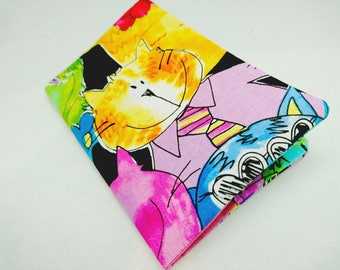 Passport cover: colorful cats smiling, colorful