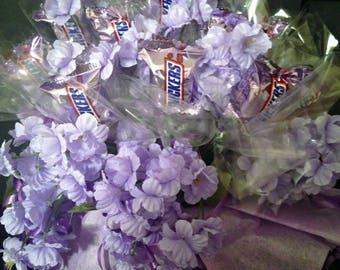 Candy Bouquet Gift Arrangement - Purple - Snickers