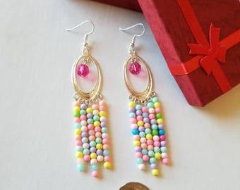 Pastel Chandellier earrings, Pastel Bohemian earrings, Pastel earrings, Boho earrings, Long earrings.