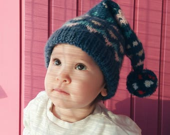 Baby girl knit hat Gnome 3, baby knit beanie, baby girl cap, newborn girl hat, winter hat