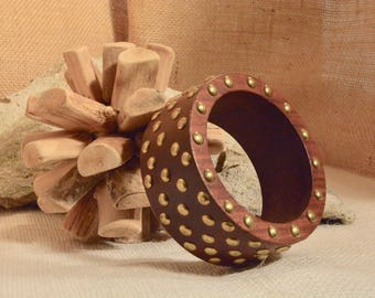 Wooden Bangle with Brass Studs