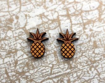 Wooden pineapple earrings - pineapple studs, wooden jewelry, wooden jewellery, handmade earrings, fruit studs