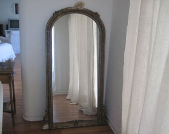 Antique French Floor Mirror Wood & Gold Decorative Gesso c1900 Fancy Romantic Faded Granduer Nordic Style, Shabby Decor
