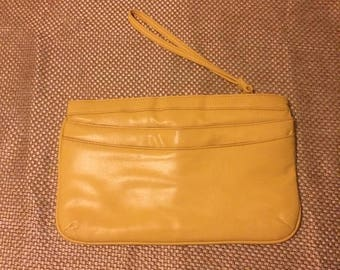 ON SALE Yellow wristlet purse