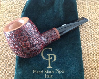"""New CP pipe, """" Black Bass """". great sandblasted briar, hand made in Italy !!"""