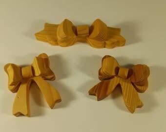 3 Small Beautiful All Wood Bows (lot#3)