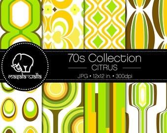 Digital Scrapbook Paper | 70s Collection, Citrus | Seamless Retro Pattern | Printable & instant download