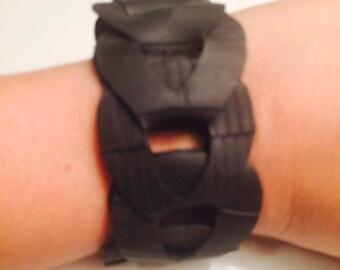 Re-purposed bike tube bracelet