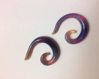 Spiral Blown Glass Gauges - Size 2G (1/4 inch)
