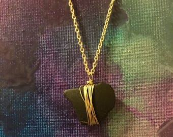 Gold Wire Wrapped Black Seaglass Necklace