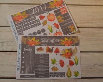 Thanksgiving Monthly Kit, Happy Planner, November Monthly Kit