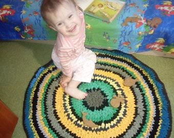 Crochet Round Floor rug Doormat Baby carpet Chairpad Beach house Nursry Kids rug 25 inch Green Blue Knitting Braided rug Crochet floor rug