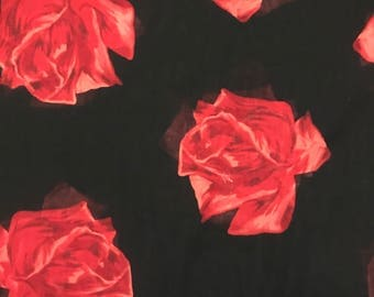 Black with 3D Red Roses Wild Rag