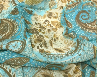 Turquoise and Brown Paisley Wild Rag