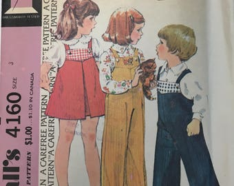 1970s McCall's Vintage Sewing Pattern 4160, Size 3; Childs' Overalls or Jumper