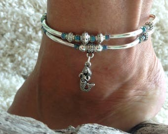 Silver noodle mermaid anklet