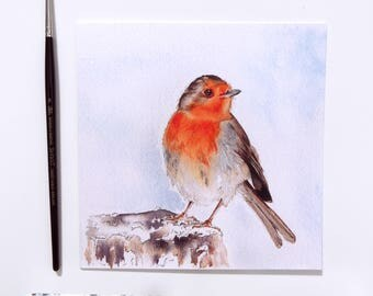 Winter Robin Christmas Blank Greeting Card
