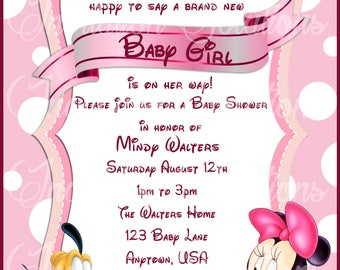 baby pluto baby shower invitation disney themed minnie mouse shower