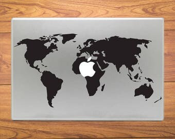 World Map Atlas Macbook Decal Stickers Mac Pro / Air / Retina Sizes 13 / 15 / 17 Laptop