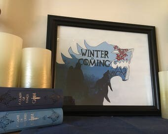 Winter Is Coming Silhouette Stark Painting