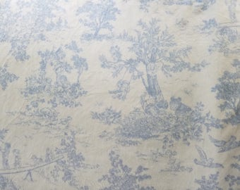 Minky Blue Toile Cuddle Fabric By the Yard