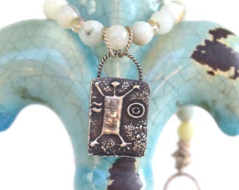 Tribal Necklace, Sterling Silver pendant, Amazonite stone beads, fine silver hook clasp and rings, Unique necklace for women, Unique artisan