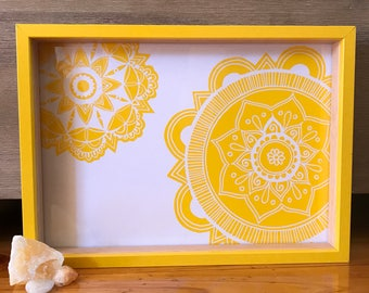 Yellow Mandalas in a Yellow Frame 22cm x 30cm