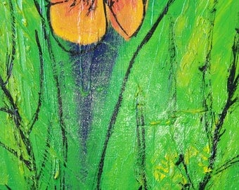 "Original painting - ""Orange"" - painting on canvas - orange flower and green leaves modern acryilque"