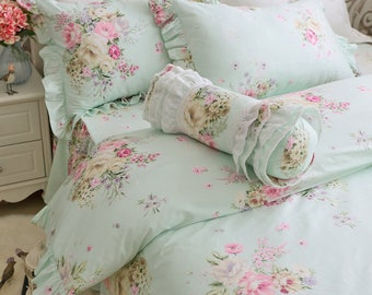 Shabby Chic Green Floral Duvet Cover Bedding SetsTwin/Full/Queen/King Bed Set