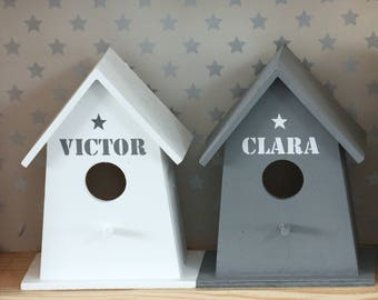 White birdhouse wooden personalized with name/word of your choice