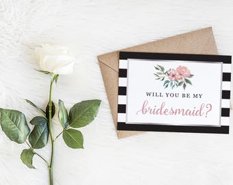 Floral Stripe Will You Be My Bridesmaid Cards