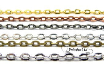 Open Flat Cable Metal Chain, Link 4.1 x 3mm, Jewelry Finding,AAH-9