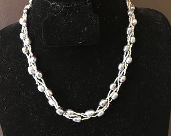Freshwater Pearl and Seed Bead Necklace