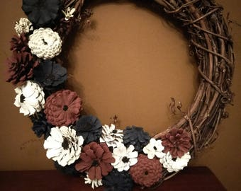 Hand Crafted - Hand Painted Primitive Red, White & Blue Flower Pine Cone Wreath