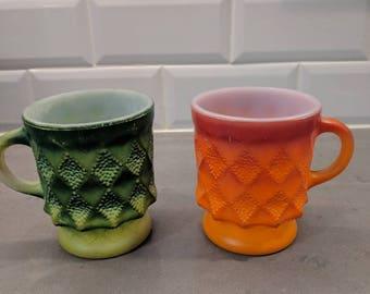 Vintage Mid-Century FireKing Diamond Mugs