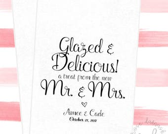 Glazed and Declicious, Favor Bags, Popcorn Bags, Candy Buffet Bags, Cookie Bags, Wedding Favors, RD049