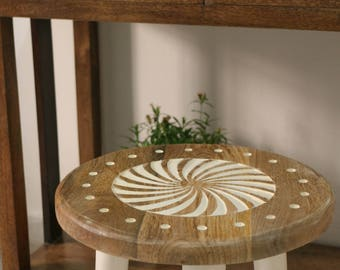 Wooden Stools, Customizied, Round Stool, Dormitory Furniture, Carved Wood,  Carved Pattern