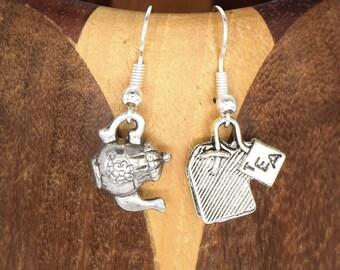 Antique silver tea and tea time teapot earrings