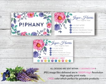 Piphany Business Card, Custom P!phany Business Card, Personalized Consultant Piphany Marketing Kit, Water color card, Printable Card TP01