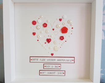 Ruby Anniversary, Frame, couple's gift, ruby, personalised, ivory, embellishments, Wall Art
