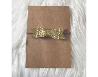 GOLD Glitter Bow // Nylon Headband, Baby Headband, Newborn Headband, Hair Bows, Hair Clips